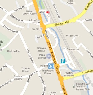 Map of Radlett showing the train station and the Radlett Centre